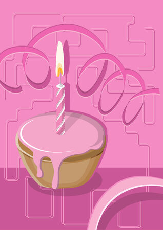 Illustration of a muffin with pink icing and a candle, suitable for birthday, Valentine Day or celebrate a jubilee. Vector