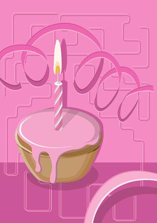 Illustration von einem Muffin mit rosa Zuckerglasur und eine Kerze, geeignet für Geburtstag, Valentinstag oder ein Jubiläum zu feiern. Standard-Bild - 6725648
