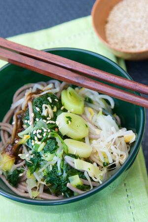 Japanese salad made from spinach, leek, soba noodle and sprouts, decorated with sesame. Stock Photo - 6877822