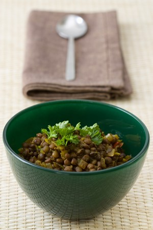 Traditional African Hotpot from brown lentils and onion also called Misir Alicha Wot. photo