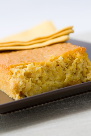 Close-up image of a corn bread like it is baked in South Africa.