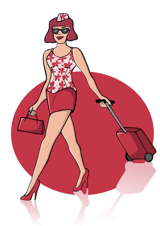 Illustration of a young sexy woman in red colors with suitcase which might be a stewardess but also a tourist. Vector