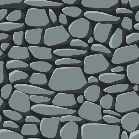 stone wall: Repeating seamless pattern of grey stones including the seamless swatch for easy filling of any contours. Illustration