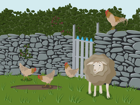 Drawing of farm animals like sheep, cock and chicken on a meadow. Stock Vector - 7545922