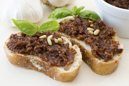 Close-up image of bruschetta with tomato pesto, some Italian antipasti. Stock Photo