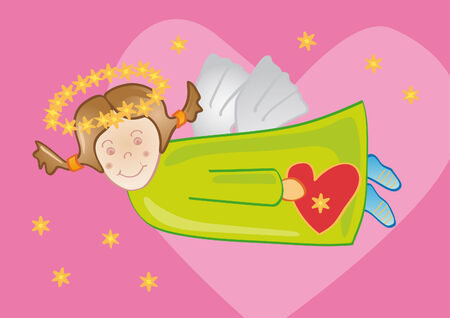 Illustration of a funny angel carrying a heart and with a pink background. Vector