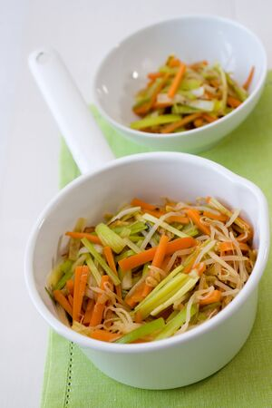 Salad from carrots, field garlic and sprouts which are fried in a wok. Stock Photo - 8348993