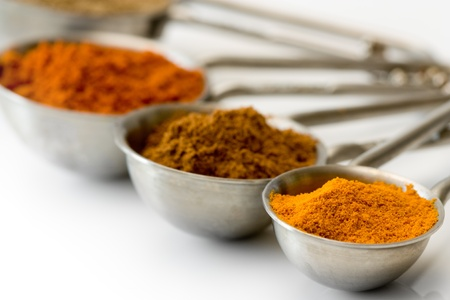 Measuring spoons with spices like curcuma, cinnamon and red pepper. photo