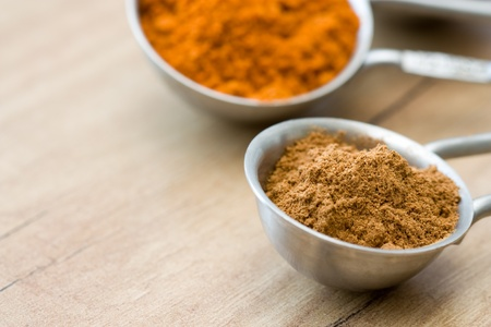 Measuring spoons with the spices cinnamon and red pepper. photo