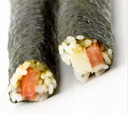 crossover: Maki Sushi made from mozzarella and tomatoes as example for crossover kitchen.