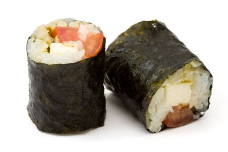 crossover: Isolated makizushi with white background made from mozzarella and tomatoes as example for crossover kitchen.
