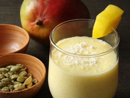 ayurveda: Selective focus image of Mang Lassi, a typical Indian drink with yoghurt.