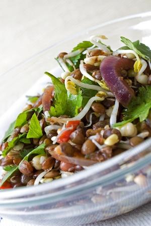 Selectieve aandacht afbeelding van een Aziatische linze salade.