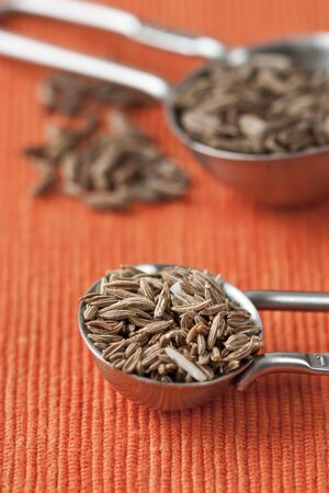 flavoursome: Close up image of measuring spoons with cumin seeds and orange background.
