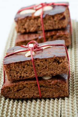 Christmas decorated gingerbread with red landyards.