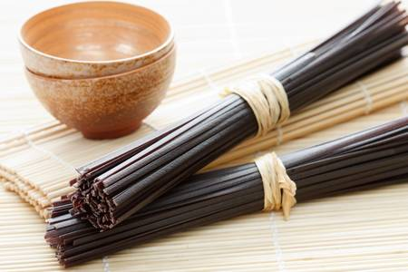 japanes: Selective focus image of black raw Japanes rice noodles. Stock Photo