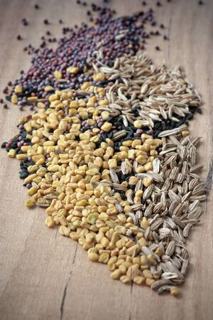 fennel seed: Spices for Panch Phoron which is an Indian blend and which is made in equal measure from fennel seed, cumin seed, mustard seed, fenugreek and black cumin.