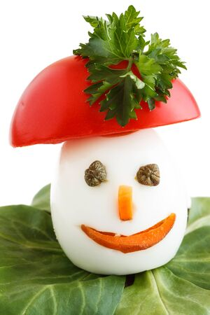Como chicos divertidos decorados huevos pasados ??por agua. Foto de archivo - 14592806