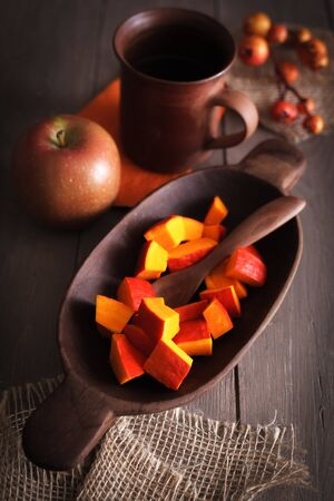 cucurbita: Cutted pumpkin to made a pumpkin dish from it.