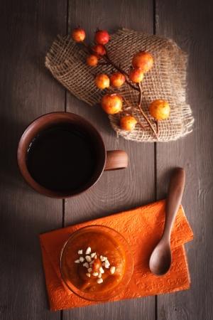 cucurbita: Autumn dessert with pumpkin and tea. Stock Photo