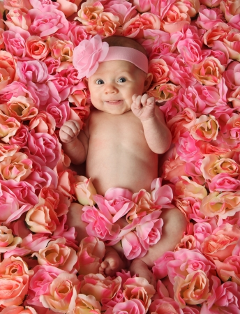 Adorable smiling baby girl lying in a bed of pink roses  Stock Photo
