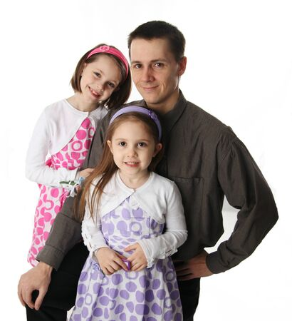 dad daughter: Handsome father and two cute young daughters dressed up  Stock Photo
