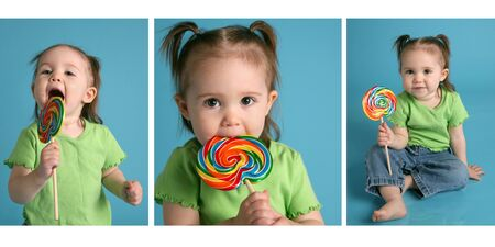 Series of three images featuring an adorable baby girl wearing pigtails and a green shirt, enjoying a lollipop sucker photo