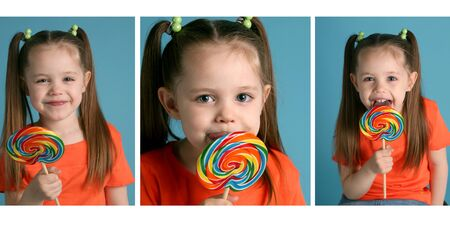 Series of three images featuring an adorable toddler girl wearing pigtails and an orange shirt, enjoying a lollipop sucker photo