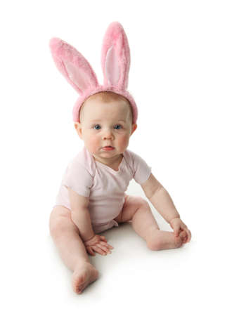 Portrait of a cute baby dressed in Easter bunny ears  photo