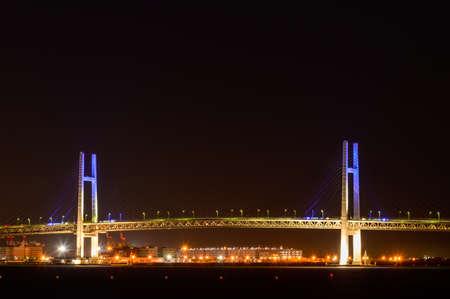 Night view of Yokohama Bay Bridge from Yokohama Daisan Bridge