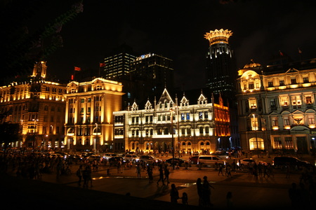 Shanghai the Bund at night Stock Photo