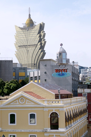Distant view of Grand Lisboa Hotel Macau Editorial