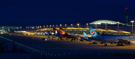 Kansai International Airport Night View 写真素材 - 135669167