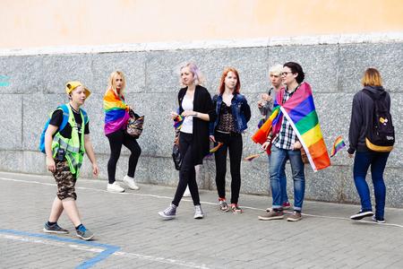 KYIV, UKRAINE - 18 JUNE 2017: Happy girls parade goers participate in 2017 KYIV Gay Pride March. Editorial