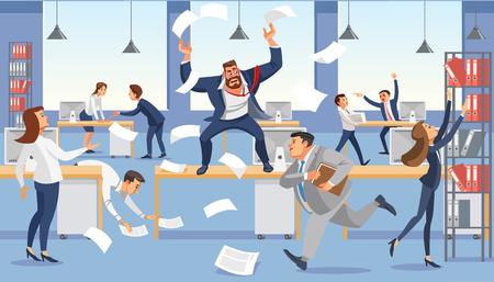 Angry boss shout in chaos office, stressed vector cartoon characters.