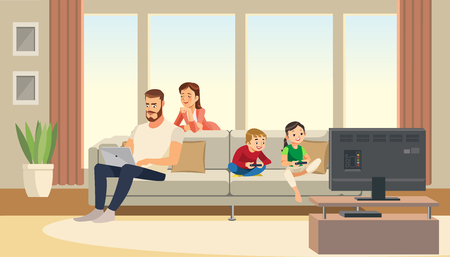 Family at home, mother care about father, while kids playing game console on tv.
