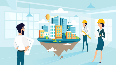 Group architects create and engineering project of city. Team work of cartoon characters. Vector illustration of art idea. Creative people building city of dream. Illustration