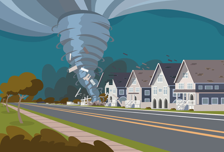 Swirling Tornado in Village Destroy Houses Hurricane Danger Huge Wind Waterspout Storm Natural Disaster Concept Flat Vector Illustration