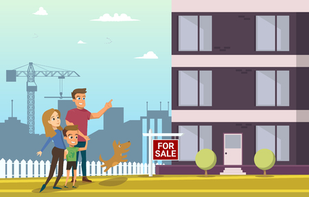 Family Buy Real Estate House. Happy Cartoon Characters Walking on Construction of Modern Living House.
