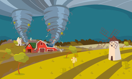 Storm Waterspout in Countryside, Natural Disaster Concept Flat Vector Illustration