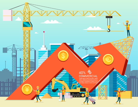 Arrow Stock Trade Graph of Housing Cost. Construction New Building in City. Vector Illsustration of Cartoon Worker Characters. Commercial Property