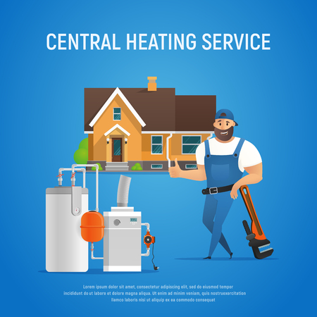 Vector Cartoon Character Plumber Central Heating Service of House. Boiler Maintenance with Wrench. Isolated Illustration.