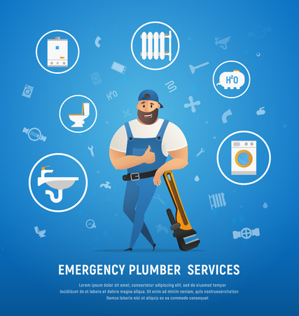 Handsome Company Plumber Service with Wrench Vector Illustration.