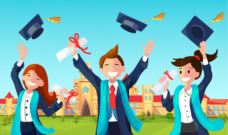 Students with Congratulations Throwing Graduation Hats in Air Celebrating. Vector Illustration of Bachelor Characters End High School University Education. Illustration