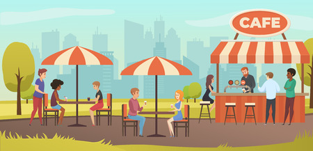 People Drink Coffe in Outdoor Vector Street Cafe on Restaurant Terrace. Park with Outside Cafe in Urban City landscape. Çizim