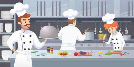 Commercial Kitchen with Cartoon Characters Chef Cook Dish Dinner. Vector Illustration of restaurant kitchen with Culinary Staff Holding Round Cloche Tray with Food. Stock Illustratie