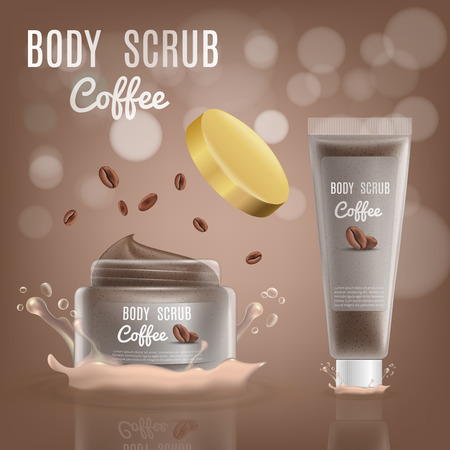 3d Realistic Coffee Body Scrub Cosmetic Package. Vector Mockup Illustration with Splash. Jar Container of Luxury Skin Cream with Brand Bottle. 向量圖像