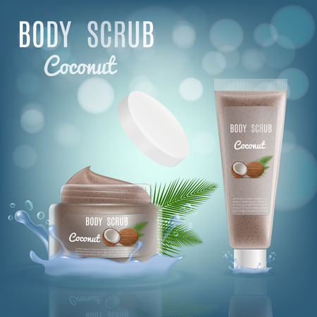 3d Realistic Coconut Body Scrub Cosmetic Package. Vector Mockup Illustration with Splash. Jar Container of Luxury Skin Cream with Brand Bottle. Ilustração