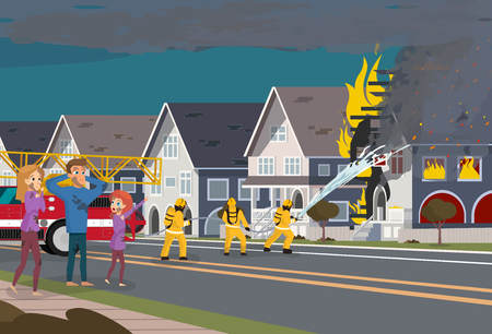 Firefighters with Engine Fire Truck Extinguish Real Estate House at Town. Cartoon Character of Family take Safety of Flame. Insured Event Concept. Illustration