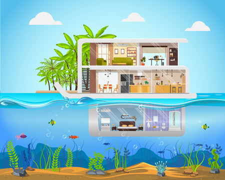 Cross Section House Inside Interior. Under Water Home Concept. Modern Villa Outside View in Tropical Resort on the Sea. Flat Vector Illustration of Luxury Real Estate. Vettoriali